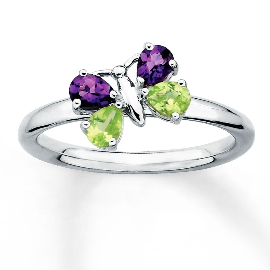 stackable butterfly ring amethysts peridots sterling silver - Butterfly Wedding Rings