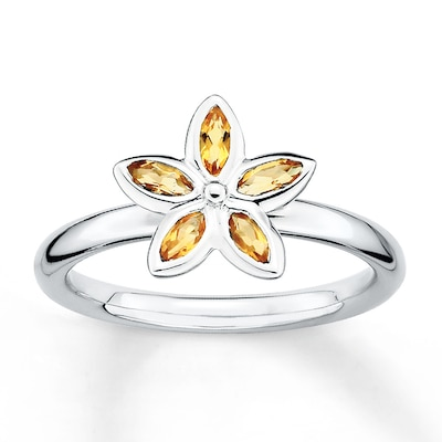 Stackable Flower Ring Citrines Sterling Silver