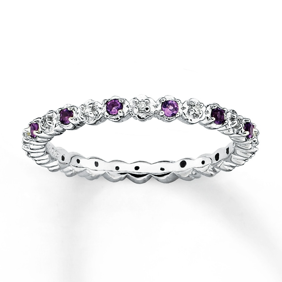Stackable Amethyst Ring 1 20 Ct Tw Diamonds Sterling