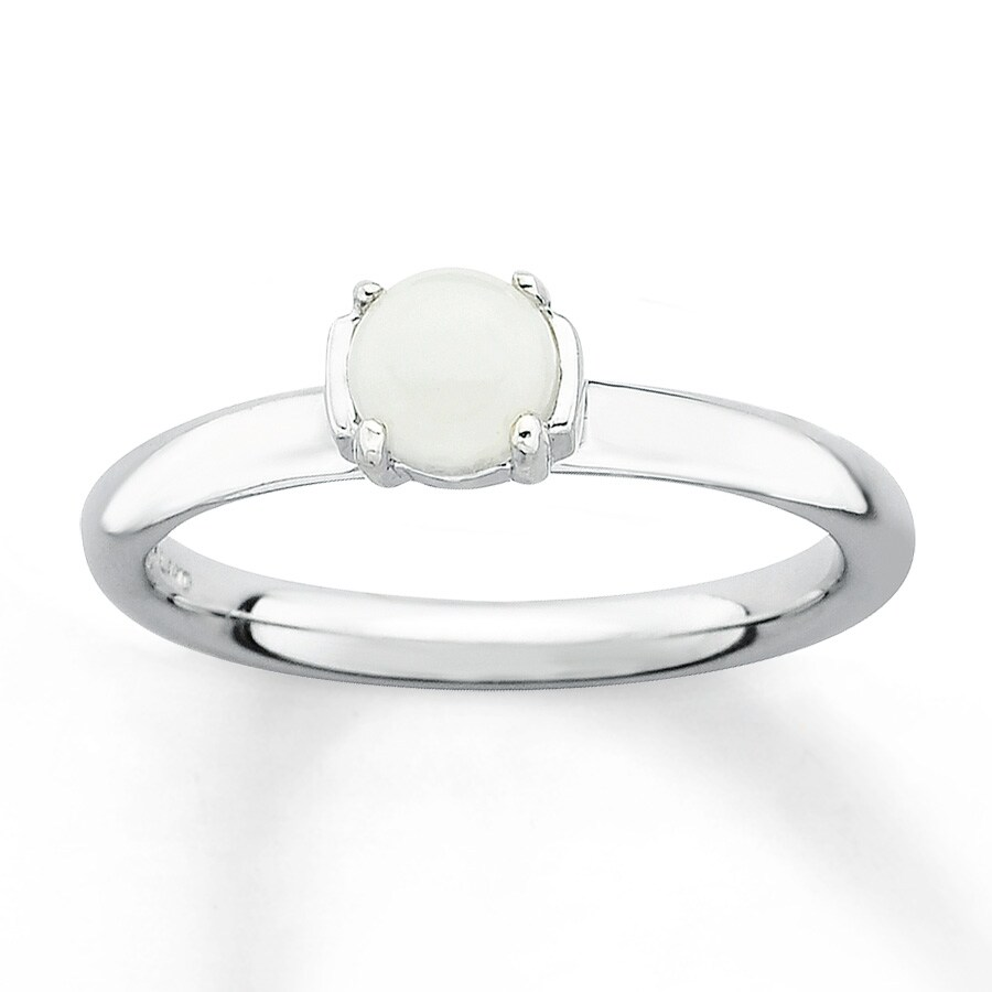 stackable ring white agate sterling silver