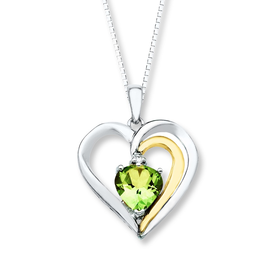 Peridot Necklace Diamond Accent Sterling Silver 10k Gold