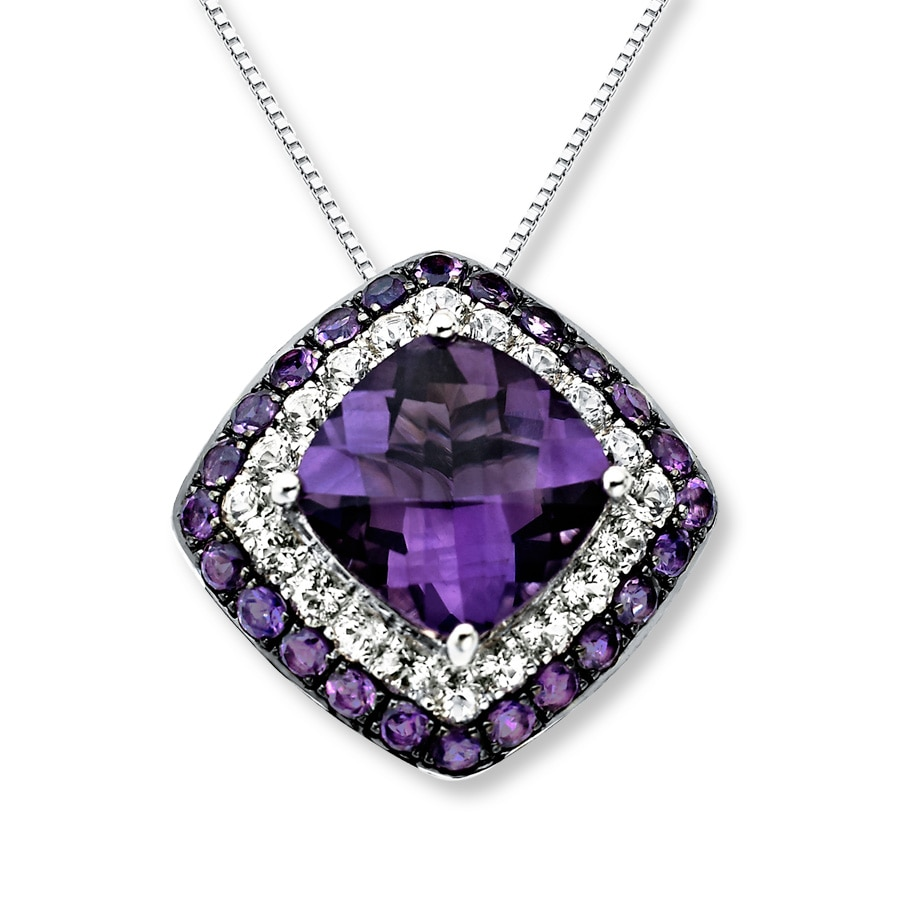 Kay amethyst necklace white topaz sterling silver amethyst necklace white topaz sterling silver aloadofball Gallery