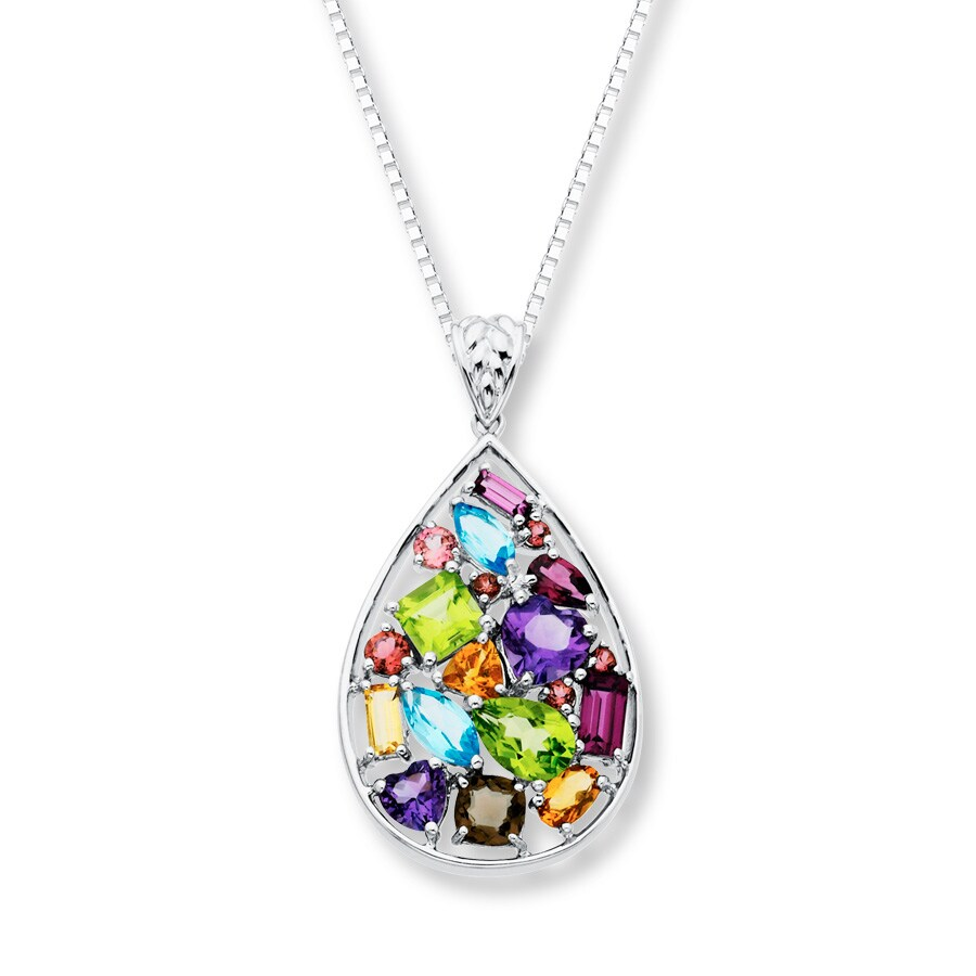 Fantastic Kay - Teardrop Necklace Multi-Gemstone Sterling Silver ZE14