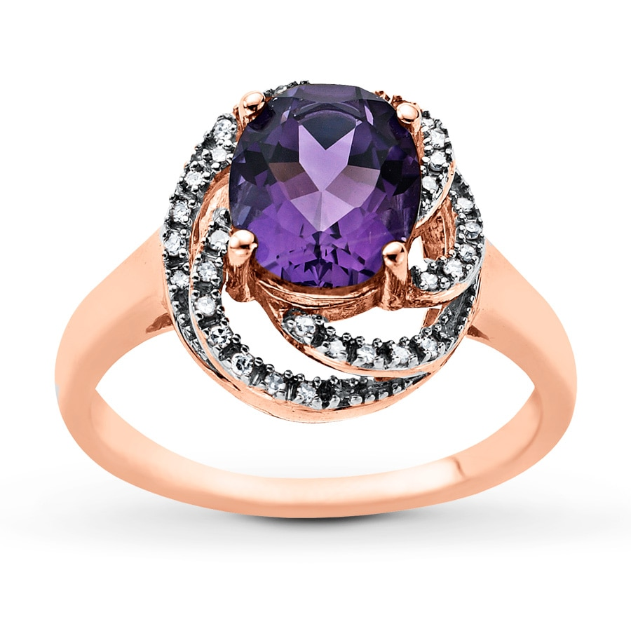 Kay Amethyst Ring 1 10 ct tw Diamonds 10K Rose Gold