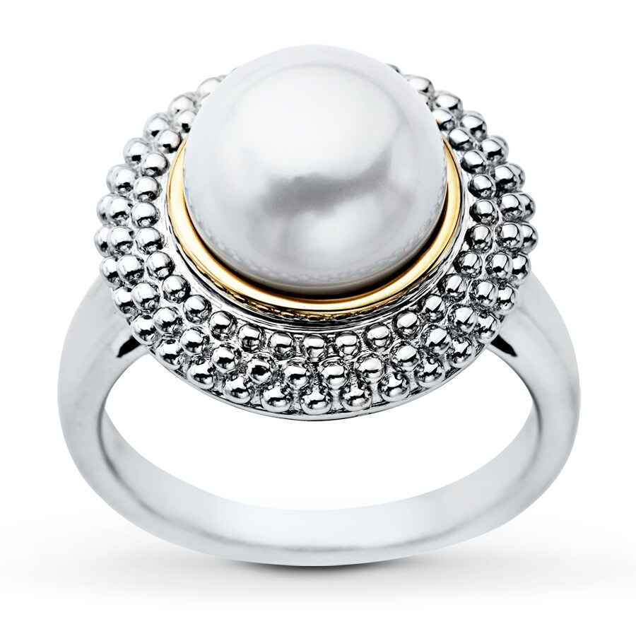Kay Cultured Pearl Ring Sterling Silver 10K Yellow Gold Accent
