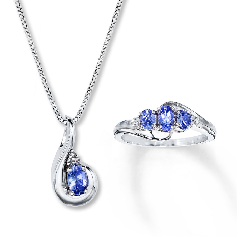 Tanzanite Necklace Tanzanite: Tanzanite Boxed Set Ring/Necklace Sterling Silver