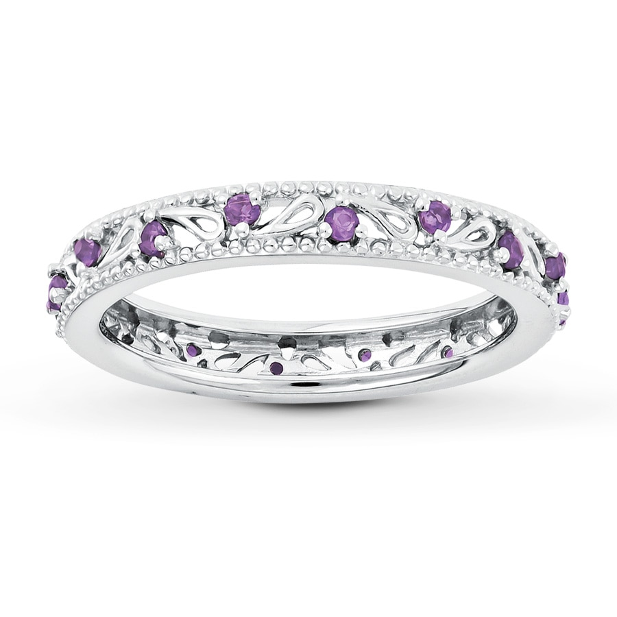 stackable ring amethyst sterling silver