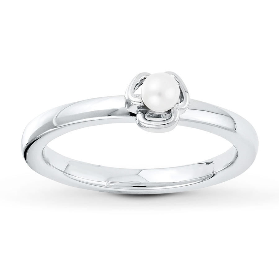 Kay Stackable Ring White Cultured Pearl Sterling Silver