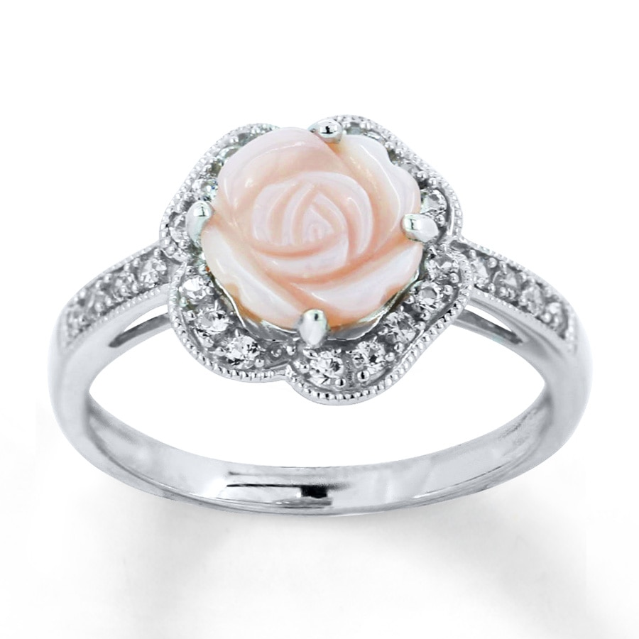 Kay Pink Shell Rose Ring Lab Created Sapphires Sterling Silver