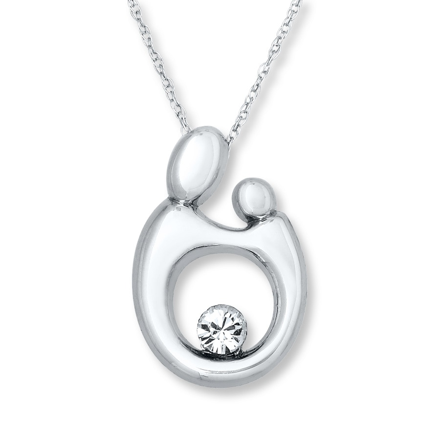 Kay Mother Child Necklace Crystal Accent 10K White Gold