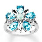 Topaz Flower Ring Lab-Created Opal Sterling Silver