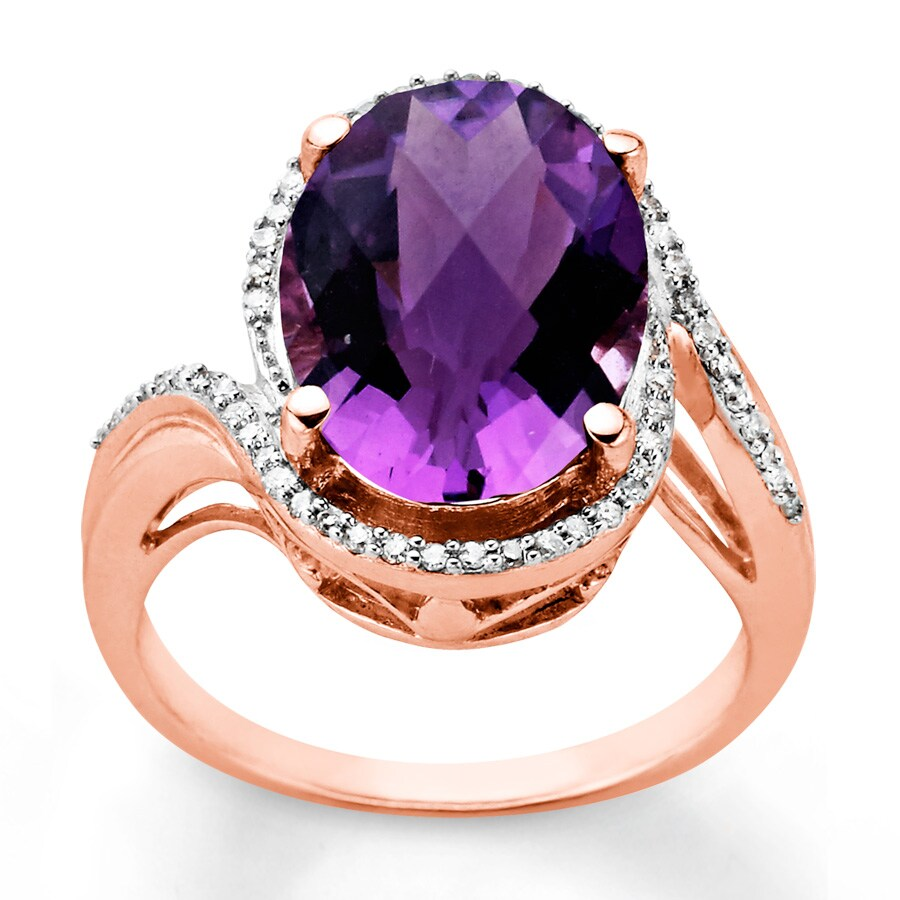 Kay Amethyst Ring 1 6 ct tw Diamonds 10K Rose Gold