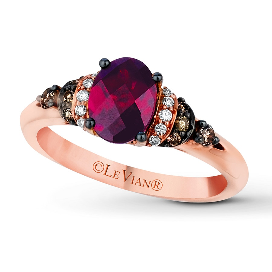 ring diamonds with rose gold rhodolite in rings garnet