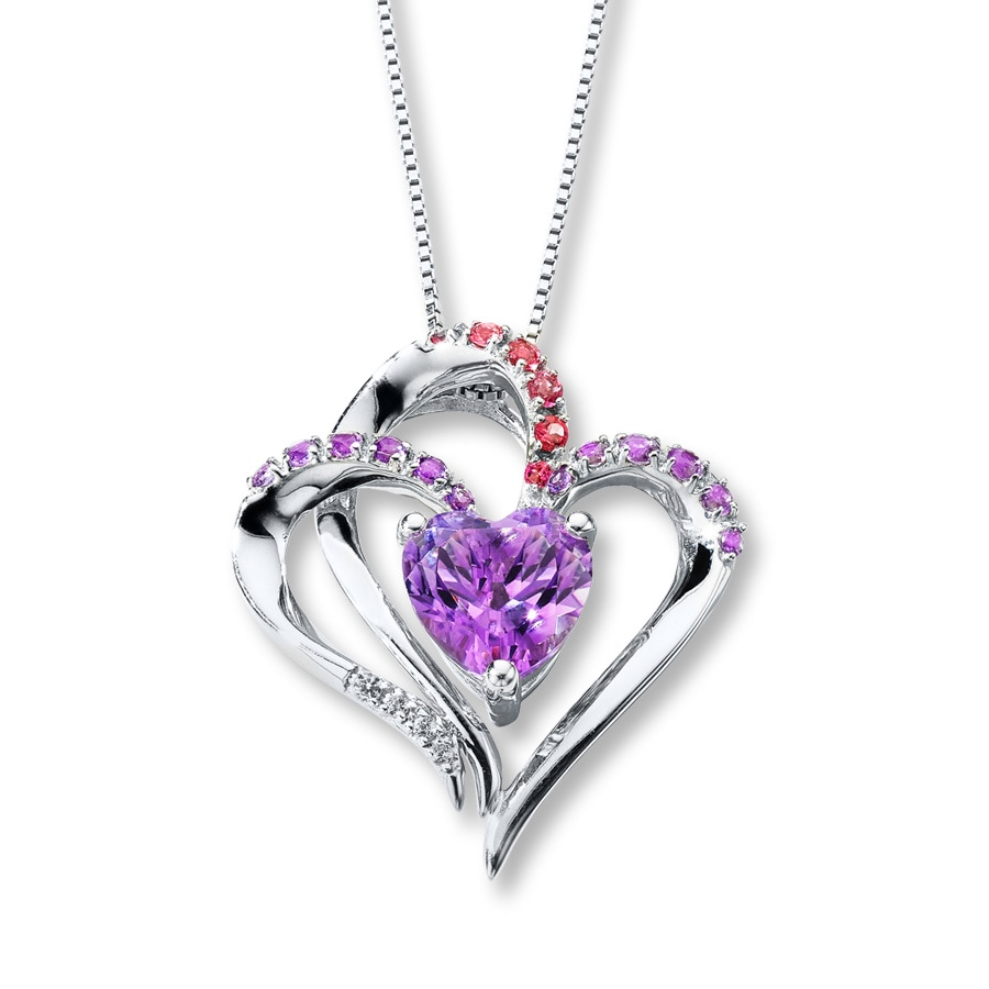 accessories item necklaces on necklace for of jewelry valentine day zirconia gold s gift from cubic color pendant crystals love rose in heart purple