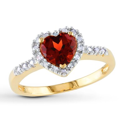 Garnet Heart Ring 1/10 ct tw Diamonds 10K Yellow Gold