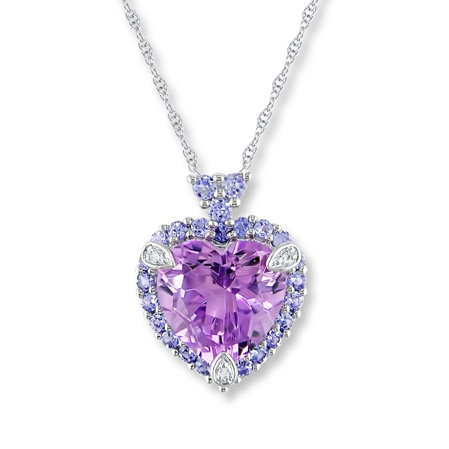 Kay Amethyst Heart Necklace Tanzanites Diamonds 10K White Gold