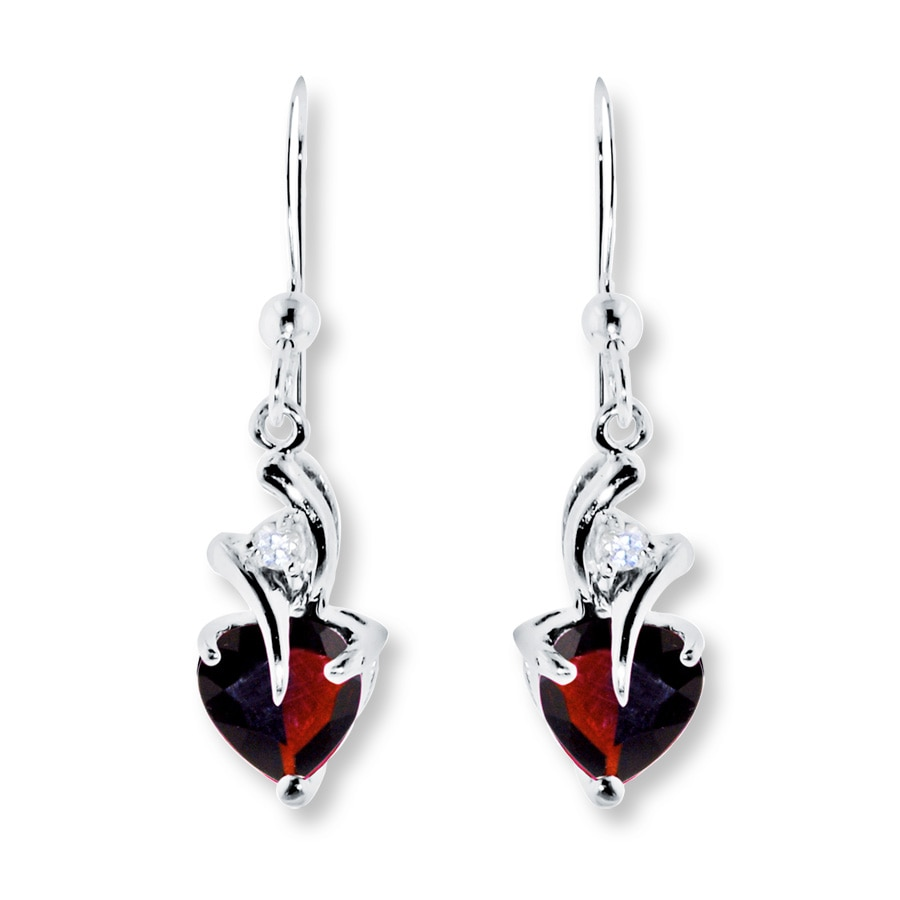 Garnet Earrings Lab Created Shire Sterling Silver