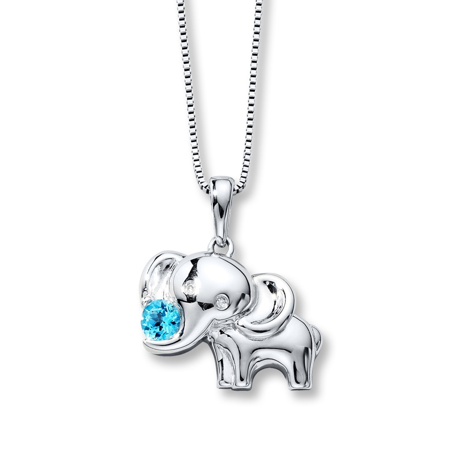 Elephant Diamond Necklace Blue Topaz Sterling Silver