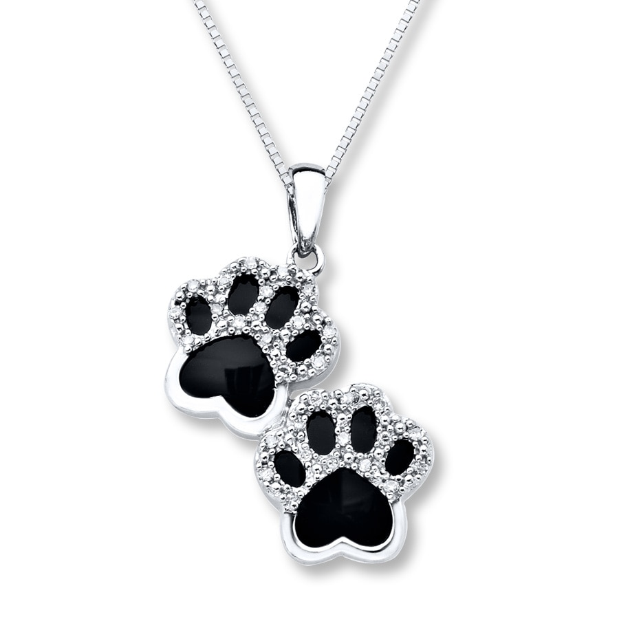 Onyx Paw Print Necklace 110 Ct Tw Diamonds Sterling Silver