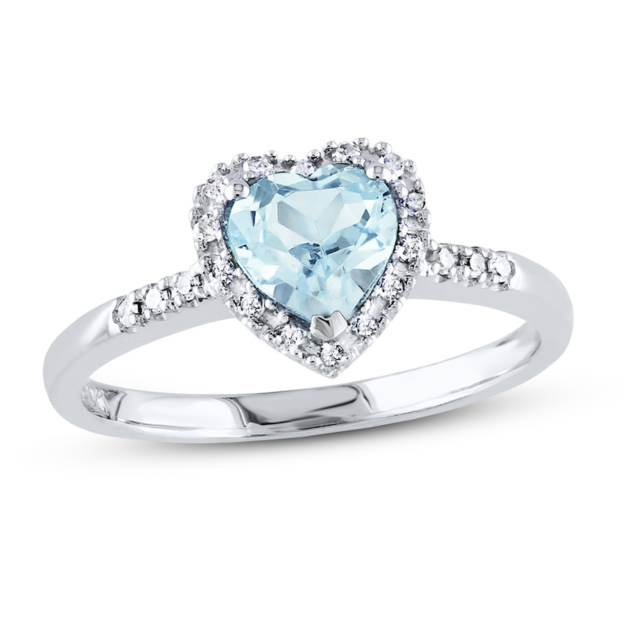 aquamarine heart ring 110 ct tw diamonds sterling silver - Aquamarine Wedding Rings
