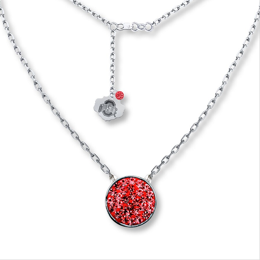 ohio state disk necklace sterling silver