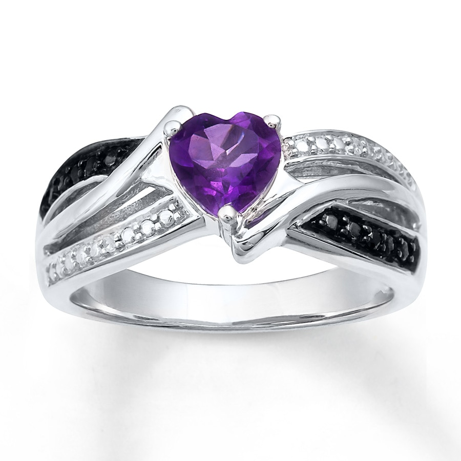 amethyst heart ring diamond accents sterling silver - Amethyst Wedding Rings