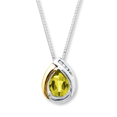 Peridot Necklace Diamond Accents 10K Gold/Sterling Silver
