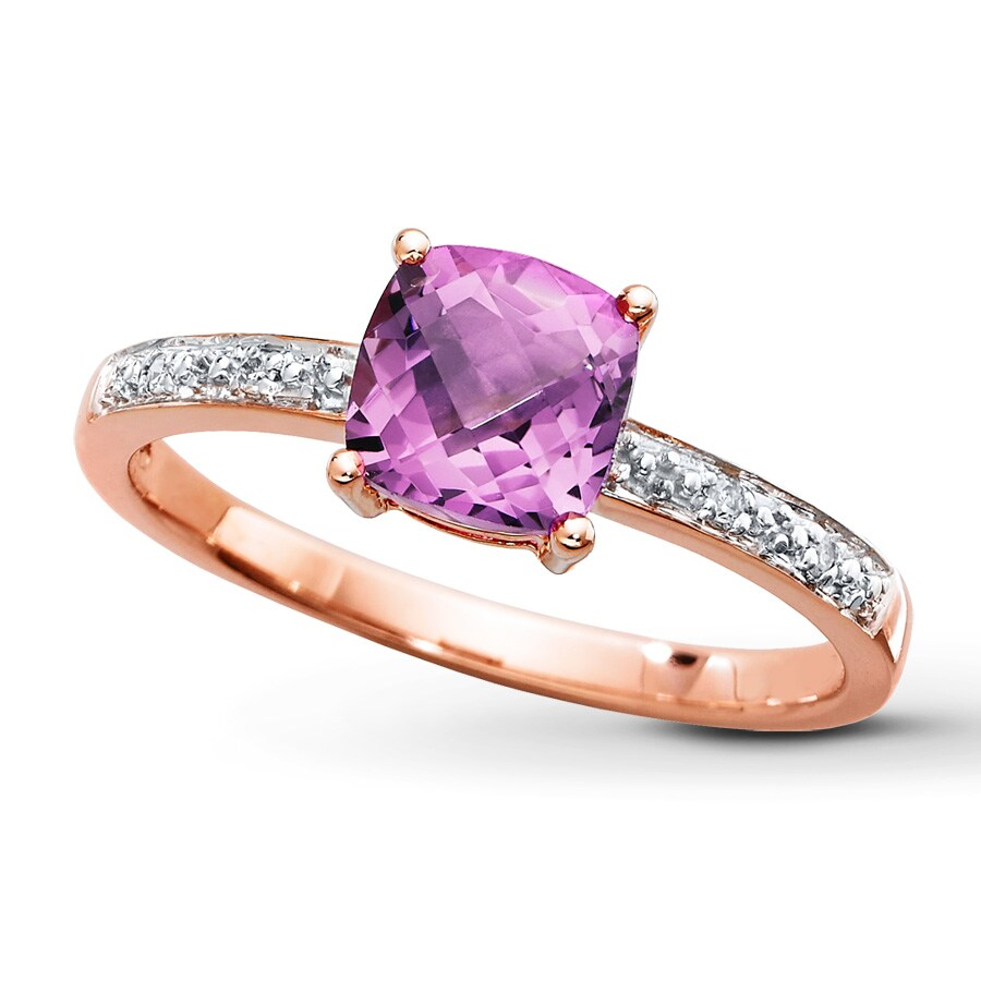 Amethyst Ring Diamond Accents 10k Rose Gold 374360206 Kay