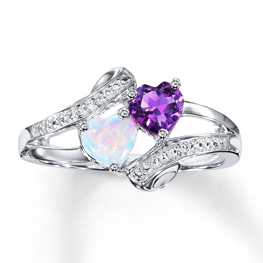 kay - amethyst heart ring lab-created opal sterling silver