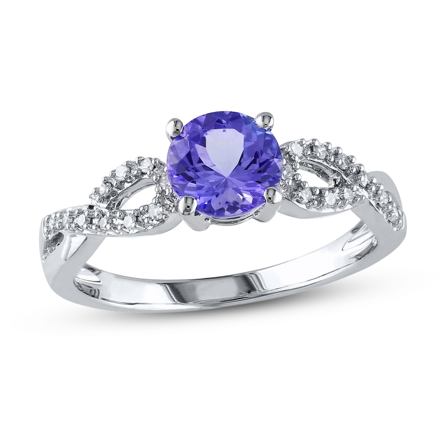tanzanite ring 1 15 ct tw diamonds 10k white gold