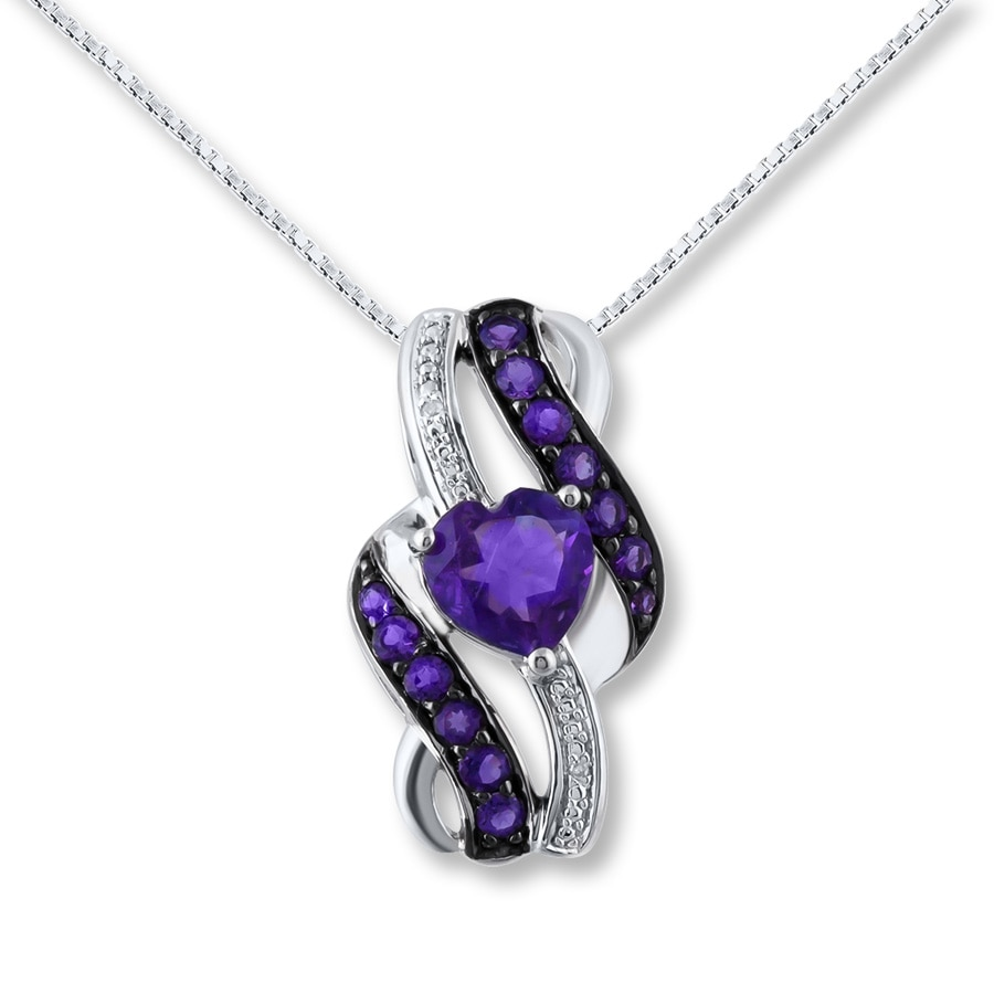 Amethyst Heart Necklace Diamond Accents Sterling Silver