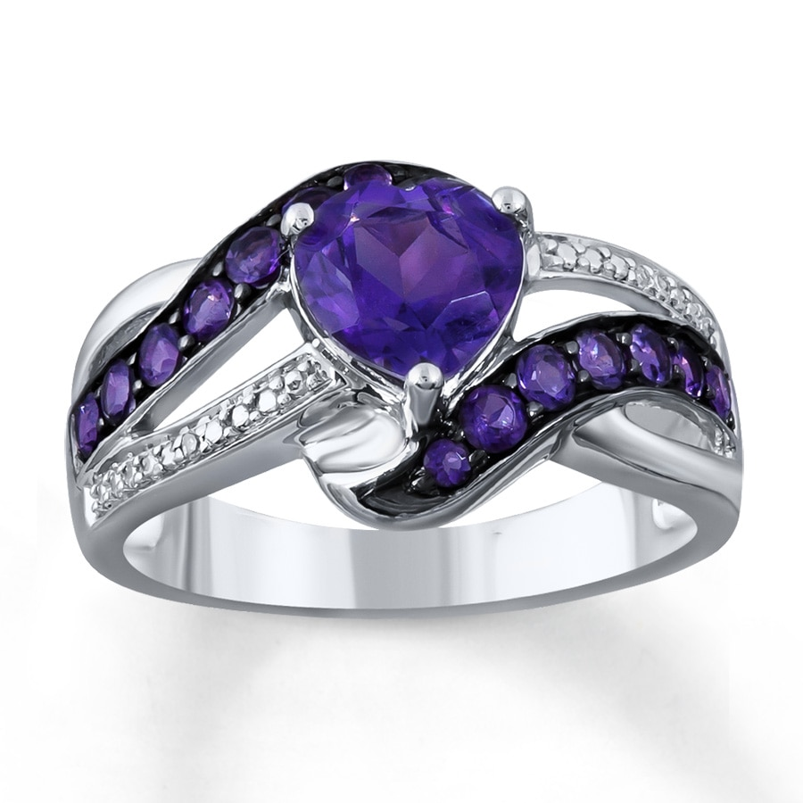 kay - amethyst heart ring diamond accents sterling silver