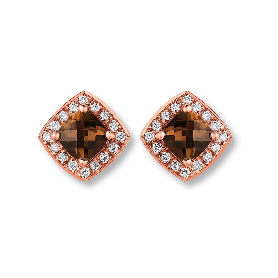 Le Vian Chocolate Quartz 1/15 ct tw Diamonds 14K Gold Earrings ZpD9UI