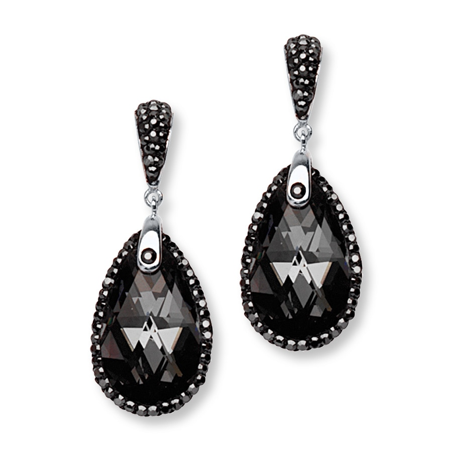 Teardrop Earrings Black Crystals Sterling Silver