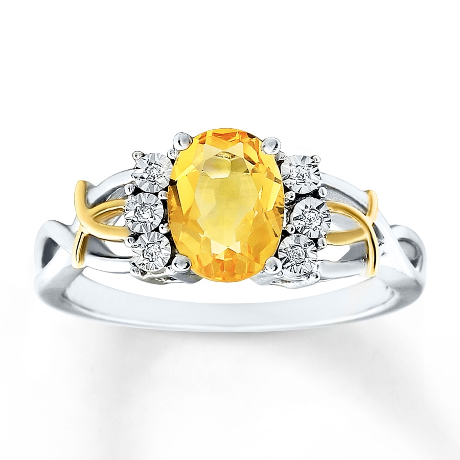 Citrine Ring Diamond Accents Sterling Silver 10k Gold