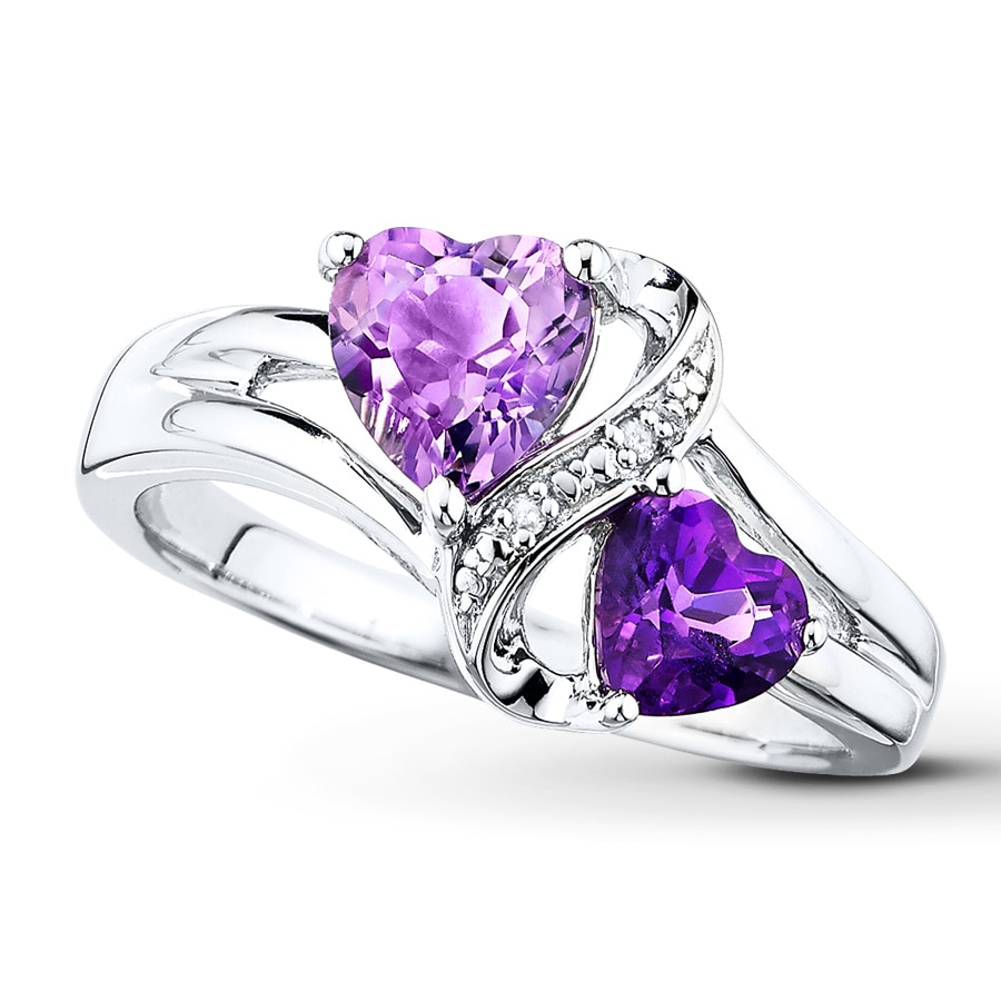 silver kaystore amethyst accents sterling kay zm purple wedding heart rings diamond mv ring en
