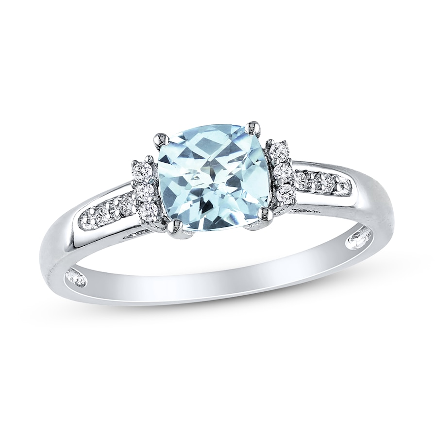 Aquamarine Ring 1 20 Ct Tw Diamonds Sterling Silver
