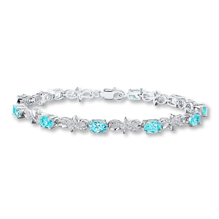 Blue Topaz Bracelet Diamond Accents Sterling Silver