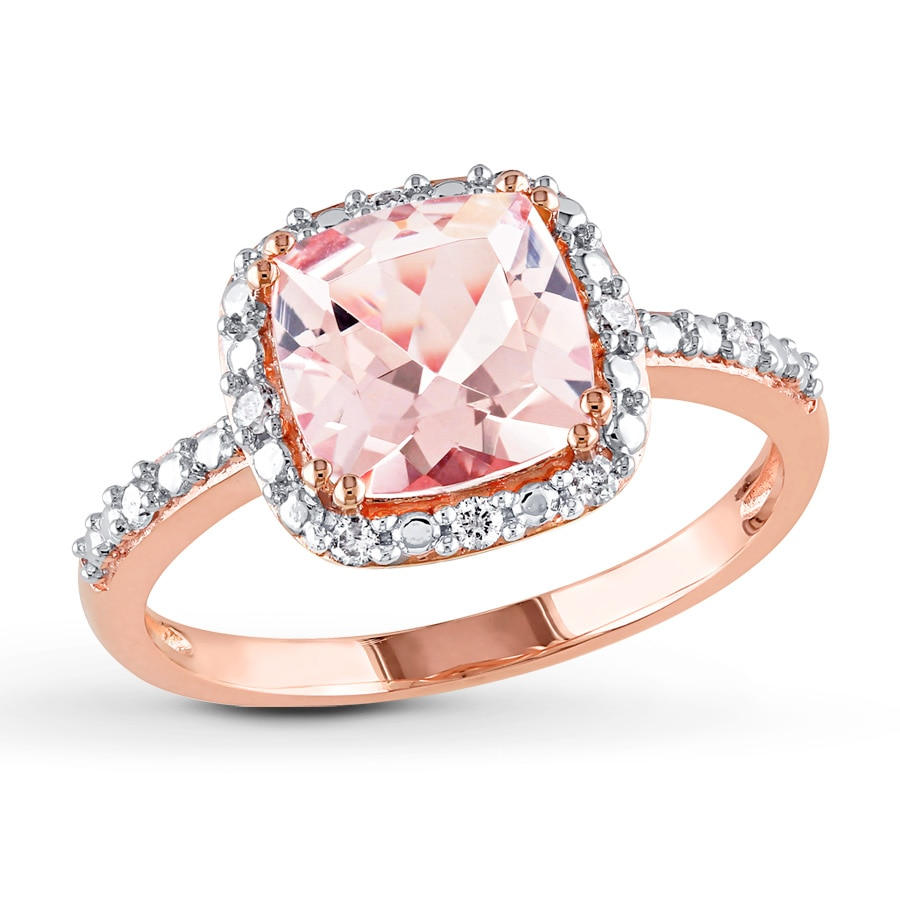 Kay Morganite Ring 1 10 ct tw Diamonds 10K Rose Gold