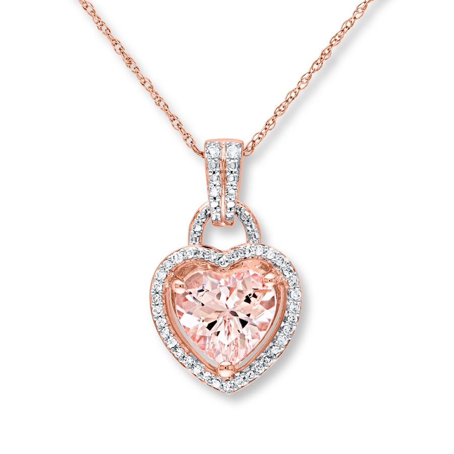 p gold and necklace morganite diamond pendant rose m