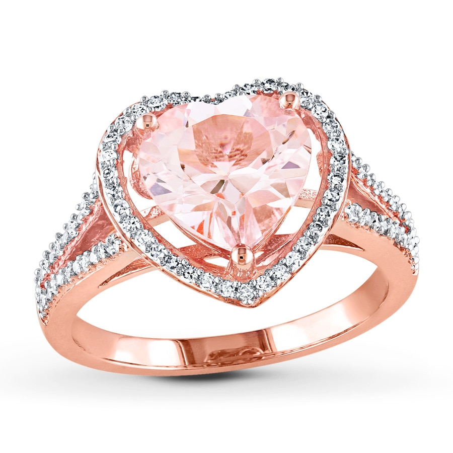 Kay Morganite Ring 1 4 ct tw Diamonds 10K Rose Gold