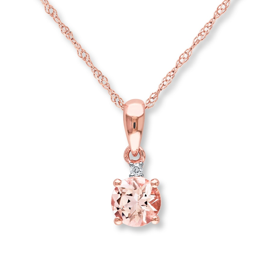 rose with diamond necklace products and morganite d gold pendant chain