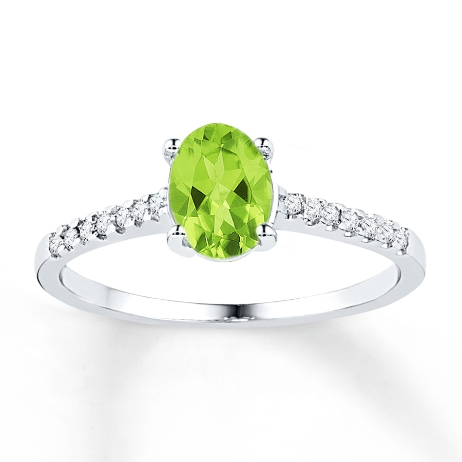 Peridot Ring 1 15 Ct Tw Diamonds Sterling Silver