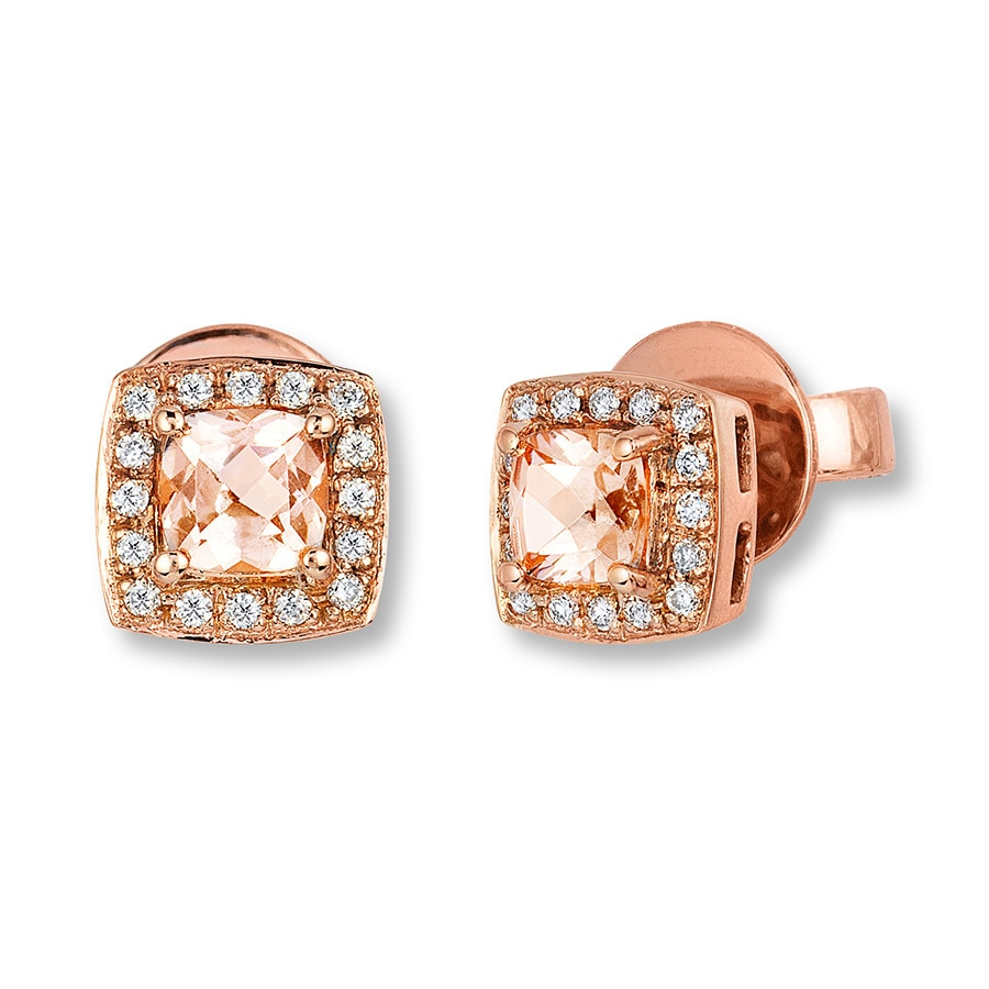 Levian Morganite Earrings 1 15 Ct Tw Diamonds 14k Gold