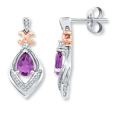 Amethyst Earrings 1/6 ct tw Diamonds Sterling Silver/10K Gold