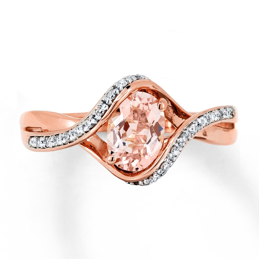Kay Morganite Ring 110 ct tw Diamonds 10K Rose Gold