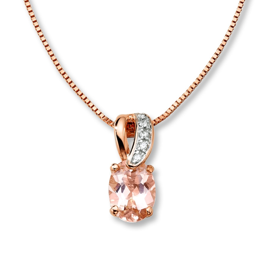 Kay Morganite Necklace Diamond Accents 10K Rose Gold