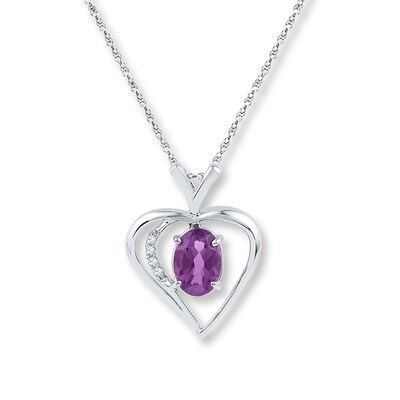 Amethyst Heart Necklace Diamond Accents 10K White Gold
