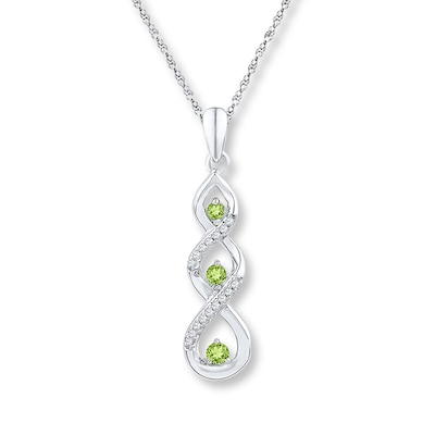 Peridot Necklace 1/15 ct tw Diamonds 10K White Gold