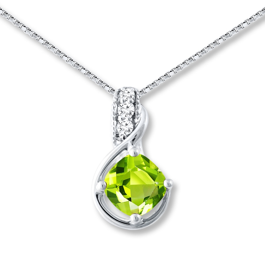 necklace peridot diamond necklance y n stone products round p